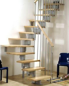 Staircase Ideas for Small Spaces: Extraordinary Wood Staircase With Lateral Metal Slat For Small Space ~ mutni.com Furniture Inspiration