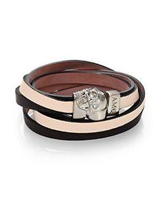 Alexander McQueen - Leather Bicolor Double-Wrap Magnetic Skull Bracelet/Silvertone