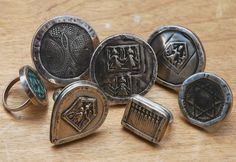 Rings of Bezeled North African coins, medallions and Indian goddess charms by JEWELS Santa Fe/Marrakech
