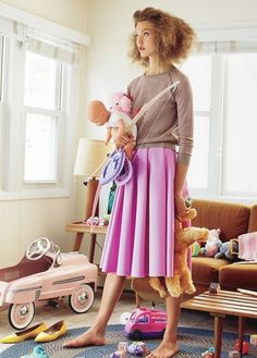 """Little Pink Houses"", Karlie Kloss photographed by Arthur Elgort in Vogue November 2012"
