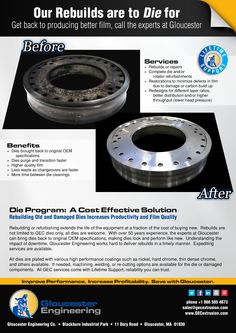 January/February die rebuild ad for Gloucester Engineering. #DieRebuild #manufacturing #GloucesterEngineering #extrusion