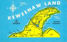Copper Harbor MI UP Keweenawland Michigan Map Card  Postmarked 1923 by UpNorth Memories - 9/12