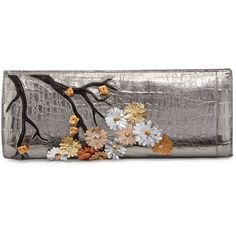 Nancy Gonzalez Cherry Blossom Crocodile Razor Clutch Bag ($2,085) ❤ liked on Polyvore featuring bags, handbags, clutches, anthracite multi, handbags clutches, croco handbags, handbag purse, croc purse, cherry blossom purse and crocodile purse