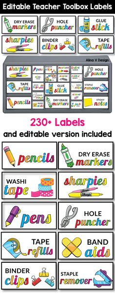 Teacher Toolbox Labels Editable, Classroom Supply Labels With Pictures Bright teacher toolbox organizer printable will help you decorate . Teacher Toolbox Labels, Teachers Toolbox, Teacher Tools, Teacher Resources, Teacher Desks, Teacher Binder, Teacher Education, School Resources, Classroom Ideas