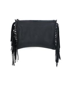 Kalon Black Leather Fringe Clutch Crossbody - Sunny Girl Boutique