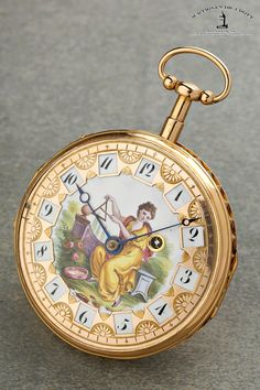 """Meuron, Movement , circa 1800 A very fine quarter repeating verge pocket watch with exquisite painted enamel dial """"Allegory of Music"""" Case: 18k pink gold. Dial: gold and enamel. Movm.: full plate movement, keywind, 2 hammers / 2 gongs, gold ring balance. The gold dial is exquisitely engraved with stylised flowers. The cartouche-shaped apertures are set in a radial diamond pattern against a white enamel background and seemingly dance to the airy music."""