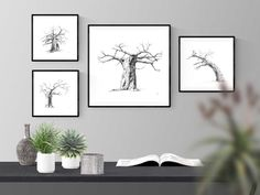 Black and white wall art prints of baobab trees for your living room or bedroom. Visit my Etsy store to shop my range of prints and print sets inspired by African nature.  #baobabtreedecor #africandecorideas #africandecorlivingroomwallart #africandecorbedroom #interiordesignideas   #walldecorideas #walldecorlivingroom #walldecorbedroom #fineartprints #finearthomedecor #printablefineart  #monochromebedroom #monochromelivingroom #minimalisthome #blackandwhitebedroomideas… Tree Wall Art, Wall Art Decor, Wall Art Prints, Fine Art Prints, Black And White Living Room, Black And White Wall Art, African Tree, Baobab Tree, Insect Art