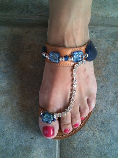 leather sandals with blue beads. $46.00, via Etsy.
