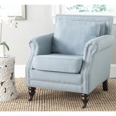 Safavieh Karsen Sky Blue Club Chair   Overstock™ Shopping   Great Deals On  Safavieh Living Room Chairs