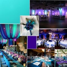turquoise and purple wedding - look at the center pieces in the middle picture!