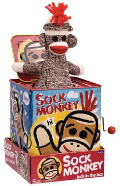 This is TOOOO CUTE! The Sock Monkey Jack in the Box from Urban Barn is a unique home decor item. Urban Barn carries a variety of Gifts and other products furnishings. Jack In The Box, Christmas Toys, Christmas Ornaments, Sock Monkey Baby, Monkey Girl, Monkey Business, Gold Art, Tin Toys, Classic Toys