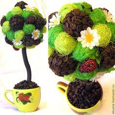 """Купить Топиарий """"Кофе с клубникой"""" - разноцветный, клубника, кофе, деревосчастья, топиарий, кофейноедерево, кофе"""