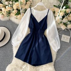 Girls Fashion Clothes, Teen Fashion Outfits, Girly Outfits, Cute Casual Outfits, Pretty Outfits, Fashion Dresses, Korean Fashion Dress, Korean Outfits, Stylish Dresses For Girls