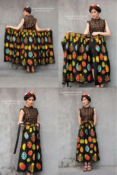 Batik Amarillis made in Indonesia www. proudly presents Batik Am. Diy Clothing, Sewing Clothes, Clothing Patterns, Batik Fashion, Diy Fashion, Fashion Dresses, Skirt Outfits, Dress Skirt, Cute Outfits