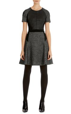 Herringbone tweed jersey dress