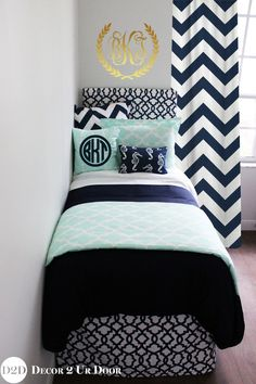 Mint & Navy Nautical Designer Dorm Bedding Set