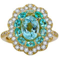 Mark Henry 1.76 Carat Paraiba Tourmaline and Diamond Ring, 18 Karat For Sale at 1stDibs Mark Henry, Rare Gems, Fashion Rings, Halo, Neon, Turquoise, Crystals, Diamond, Jewelry