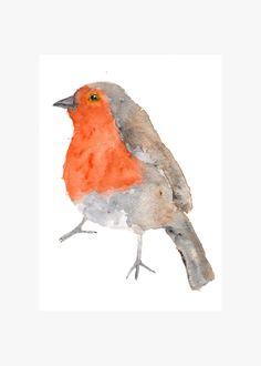 Original bird painting, watercolor robin, bird art, robin bird, feathers, nature, original painting - 5X7