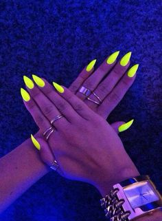 Neon nails - I would totally love these nails if they weren't that sharp