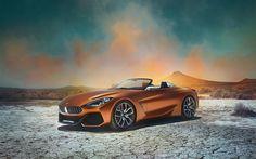 Télécharger fonds d'écran BMW Z4 Concept, En 2017, des voitures de Luxe, vue de face, bronze Z4, voitures allemandes, BMW