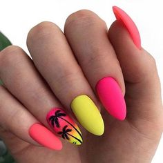 24 Funky Summer Nail Designs To Impress Your Friends Tropical summer nail design. Here is a list of the coolest summer nail designs for Are you ready for the hot season, road trips, picnics, swimming and long walks on the beach? Bright Nail Art, Bright Summer Nails, Cute Summer Nails, Cute Nails, Nail Summer, Acrylic Summer Nails Beach, Summer Vacation Nails, Summer Holiday Nails, Summer Nails 2018