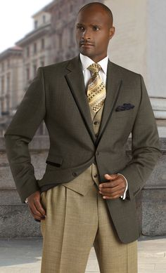 Tayion Suits Mens Olive 100% Wool 3 Piece Ensemble 008-Cass