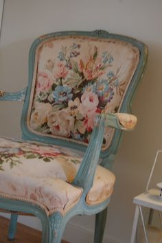 duck egg blue and floral on a french chair.  I need this for the desk in my bedroom!