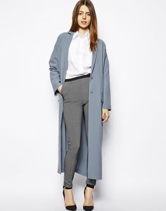love this powder blue long coat.  #blue #dustercoat #style #fashion #spring #powderblue