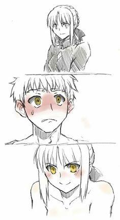 Shirou Emiya x Arturia Alter (Saber) You have two accept your fate Saber X Shirou, Shirou Emiya, Fate Stay Night Series, Fate Stay Night Anime, Arturia Pendragon, Accel World, Manga Anime, Manga Art, Fate Anime Series