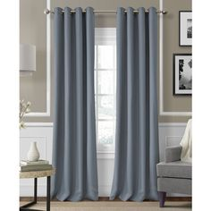 "Elrene Essex Grommet Linen 50"" x 95"" Panel ($55) ❤ liked on Polyvore featuring home, home decor, window treatments, curtains, blue, grommet draperies, blue linen curtains, blue grommet curtains, linen curtains and grommet drapery panels"