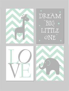 50% Off Sale Mint and Grey Nursery Elephant by fairplayprintables