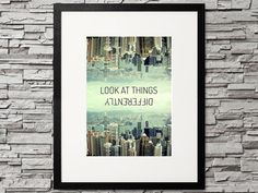 Look at things differently. So get a different perspective ♥ Skyline of Hong Kong. Get your inspirational quote for creative gallery walls Printable Designs, Printables, Different Perspectives, Gallery Walls, Hong Kong, Skyline, Inspirational Quotes, Etsy, Vintage