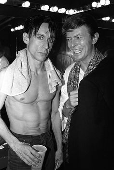 Iggy Pop and David Bowie after Iggy's concert at the Ritz in New York City, in 1986.