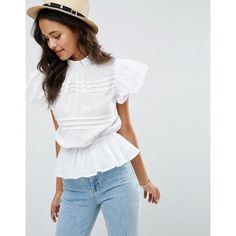 ASOS Casual Sleeveless Victoriana Blouse ($42) ❤ liked on Polyvore featuring tops, blouses, white, white frilly blouse, white button blouse, button blouse, white sleeveless blouse and white ruffle blouse