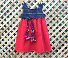 Little Girls Bohemian Style Dress Hmong Appliqued Indigo Batik And Red Natural Cotton by DekDoi,  #bohemian #girls #Hmong #Dress #Hippie
