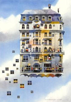 Flying house by Tytus Brzozowski, fine art print in limited edition