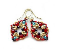 """Earrings Tutorial with Superduo beads """"Intuition number 2"""" - 6,00 EUR - Etsy - CrownOfStones - EUA"""
