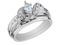 Diamond Marquise Engagement Ring and Wedding Band Set 1/2 Carat (ctw) in 14K White Gold    LOVE
