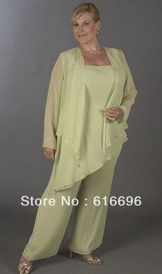 Plus Size Custom Made Chiffon Mother Of the Bride Pant Suits Set 3 Pieces With Asymmetrical  Jacket And Pants  Wedding US $93.00