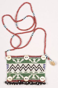 "Zulu necklace Umphapheni Northern Nguni or Zulu, South Africa Early 20th century Beaded ornament worn around neck, carrying symbolic message Size: 3 1/2"" x 2 1/2"" on strand approximately 25"" long 9 x 6 cm,   63 cm long on strand"