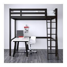 Ikea Loft Bed - perfect size and weight. We can put a Twin bed underneath it. Bunk Beds With Stairs, Kids Bunk Beds, Adult Bunk Beds, Bunk Beds For Adults, Bunk Bed Desk, Loft Bed Stairs, Loft Beds For Small Rooms, Mezzanine Bed, Loft Bunk Beds
