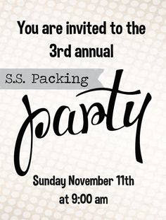 Packing Party at CHURCH!  love this idea :)