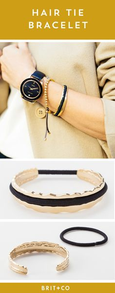 This stylish bracelet doubles as a hair tie holder that keeps your wrist indent-free! Available in gold, rose gold, or silver, this stainless steel or sterling silver bangle is sure to become your favorite accessory. Bracelet can accommodate both skinny and thick hair tie elastics.