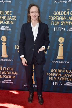 Celine Sciamma attends the HFPA's 2020 Golden Globes Awards Best Motion Picture - Foreign Language Symposium at the Egyptian Theatre on January 2020 in Hollywood, California. Golden Globe Award, Golden Globes, Hollywood California, In Hollywood, Celine Sciamma, Egyptian Theater, Regie, Brad Pitt, Portrait