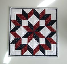 Patriotic Quilted Table Mat - Table Topper Red White Blue $26