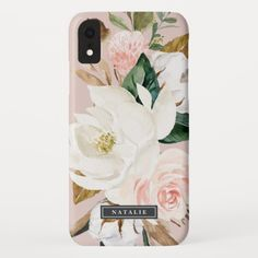 Elegant Magnolia White & Blush Personalized Name Iphone Xr Case Iphone 7 Plus, Iphone 8, Cool Iphone Cases, Cute Phone Cases, Iphone Phone Cases, Apple Iphone, Samsung Cases, Latest Iphone, Sparkle