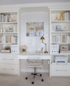 Home decorating ideas - home office in chic glam style.  Built-in desk and shelving, lucite desk chair, pretty neutral color palette,  gold accents and wallpapered accent niche.