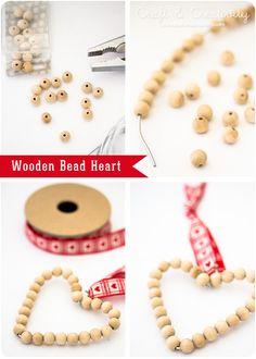 DIY Wooden Bead Heart from Craft & Creativity.