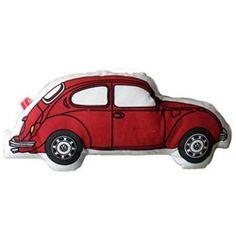 Grappig kussen met rode Volkswagen Beetle