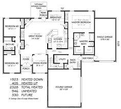 European Style House Plan - 3 Beds 2 Baths 2328 Sq/Ft Plan #424-255 Floor Plan - Main Floor Plan - Houseplans.com